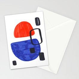 Mid Century Modern Abstract Minimalist Art Colorful Shapes Vintage Retro Style Orange Blue Shapes Stationery Cards