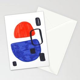 Mid Century Modern Abstract Minimalist Art Colorful Shapes Vintage Retro Style Orange Blue Shapes Stationery Cards