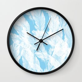 Baby blue feathers Wall Clock