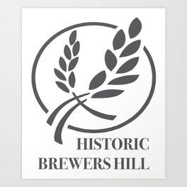 Brewers Hill Sign Black Art Print