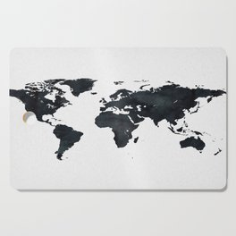World Map in Black and White Ink on Paper Cutting Board