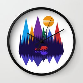 Bear & Cubs #4 Wall Clock