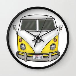 Yellow Camper Van - Hippie Bus Wall Clock
