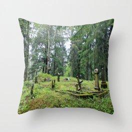 Cemetery in Alaska Throw Pillow
