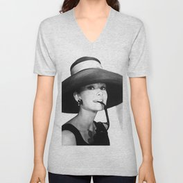Audrey Hepburn Portrait, Black and White Vintage  Unisex V-Neck