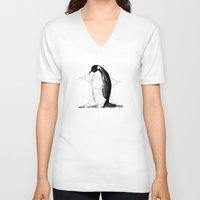 penguin V-neck T-shirts featuring Penguin by thinschi