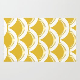 Japanese Fan Pattern Mustard Yellow Rug