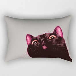 Curious cat, Black cat, Pop Art cat. Rectangular Pillow