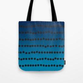 Ombre Blue Hawaii Ocean Gradient Duotone Spots Black Dots Tote Bag