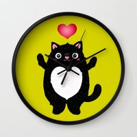 fat Wall Clocks featuring Fat Cat by Anna Alekseeva kostolom3000