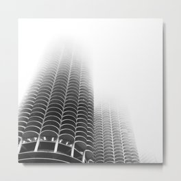 Foggy Chicago Marina City Towers Metal Print