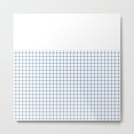 Dotted Grid Boarder Blue on White Metal Print