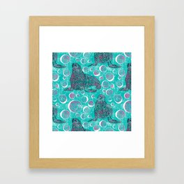 Seals and Bubbles in Pink and Turquoise Framed Art Print