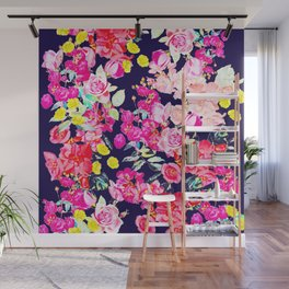 Summer Bright Antique Floral Print with Hot Pink, Yellow, and Navy V2 Wall Mural