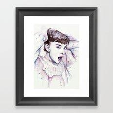 Audrey Hepburn Watercolor Actress Breakfast at Tiffanys Framed Art Print