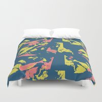 camo Duvet Covers featuring Bright Camo by lalaprints