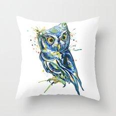 Blue Owl Throw Pillow