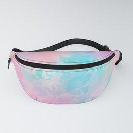 Bright pink turquoise unicorn watercolor paint background Fanny Pack