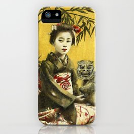Vintage Geisha And Demon iPhone Case