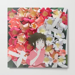 Spirited Away's Chihiro Running Through Flowers Metal Print