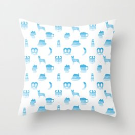 Oktoberfest Bavarian October Beer Festival Motifs in Bavarian Blue Throw Pillow