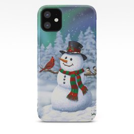 Cute Happy Christmas Snowman with Birds iPhone Case