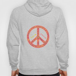 Peace and love, colorful and groovy hippie sign, 60's symbol of freedom Hoody