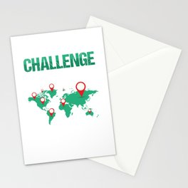 Geocaching Geocachers GPS Location Trackers Navigational Gift Challenge Accepted Stationery Cards