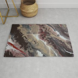 Neutral Black, Red and Brown Painting - Schism Abstract Rug