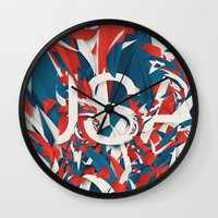usa Wall Clocks featuring USA by Danny Ivan