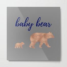 Baby Bear - Navy Rose Gold Metal Print