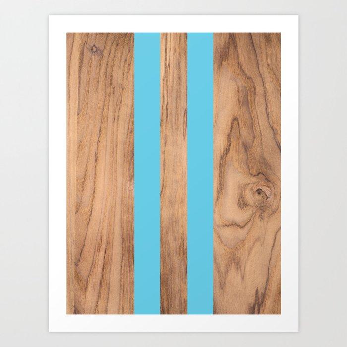 Striped Wood Grain Design - Light Blue #807 Kunstdrucke