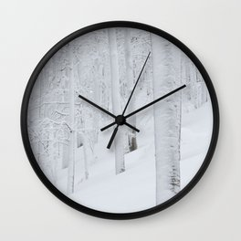 Snow covered forest winter wonderland Wall Clock