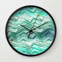 Green Geode Watercolor Wall Clock