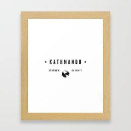 Kathmandu geographic coordinates Framed Art Print
