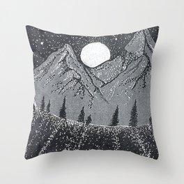"""Moonrise"" Hand-Drawn by Dark Mountain Arts Throw Pillow"