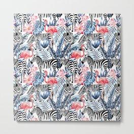 zebra and flamingo pattern Metal Print