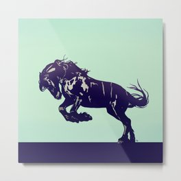 Dark Blue Stallion Metal Print