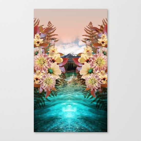 Flowers Mountain Lake Cloud Snow, Forest Canvas Print