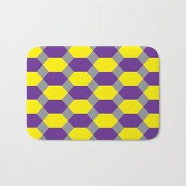 Purple and Yellow Hexagons on Dark Gray, Bath Mat