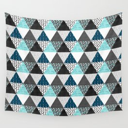 Triangle Quilt in Blue Wall Tapestry