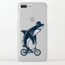 Shark on bike Clear iPhone Case