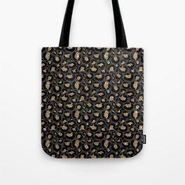 Black Gold Leopard Print Pattern Tote Bag