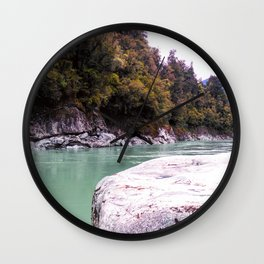 abonded george river scenic view wood forrest new zealand Wall Clock