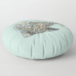 Elephant Paper Collage in Gray, Aqua and Seafoam Floor Pillow