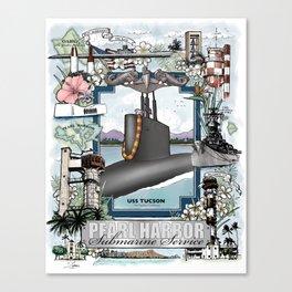 USS Tucson - Pearl Harbor Submarine Service (Silver Dolphins) Canvas Print