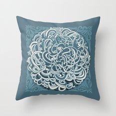 Detailed circlecorner, blue Throw Pillow