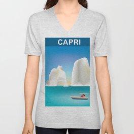 Capri, Italy- Skyline Illustration by Loose Petals Unisex V-Neck