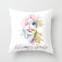 Always smile! Hand-painted portrait of a woman in watercolor. Throw Pillow