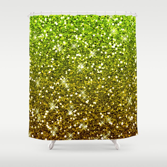 Shimmering Light Green Gold Glitters Shower Curtain